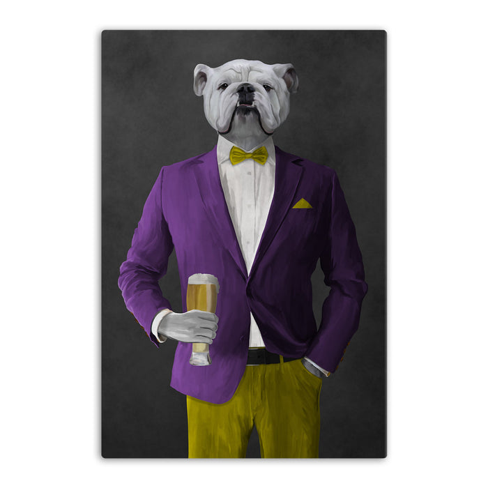 White Bulldog Drinking Beer Wall Art - Purple and Yellow Suit