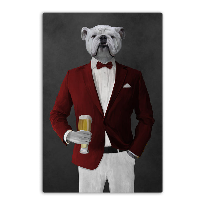 White Bulldog Drinking Beer Wall Art - Red and White Suit