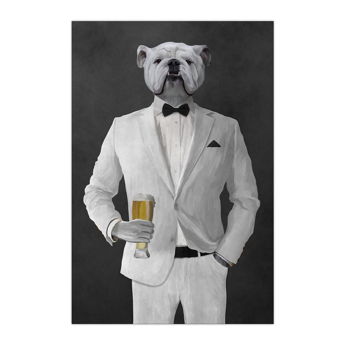 White Bulldog Drinking Beer Wall Art - White Suit