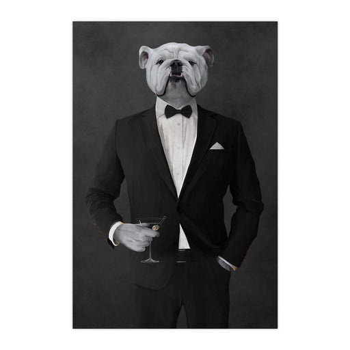 White Bulldog Drinking Martini Wall Art - Black Suit