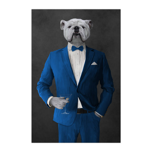 White Bulldog Drinking Martini Wall Art - Blue Suit