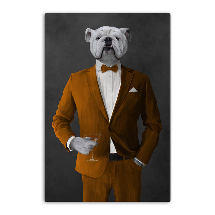 White Bulldog Drinking Martini Wall Art - Orange Suit
