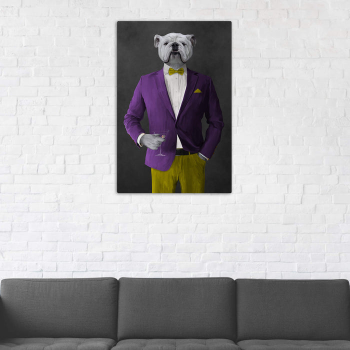 White Bulldog Drinking Martini Wall Art - Purple and Yellow Suit