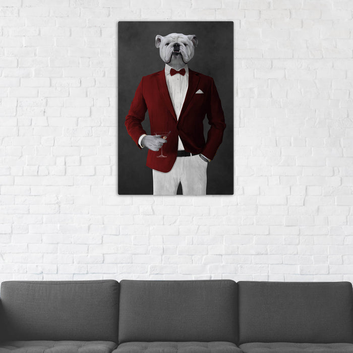 White Bulldog Drinking Martini Wall Art - Red and White Suit