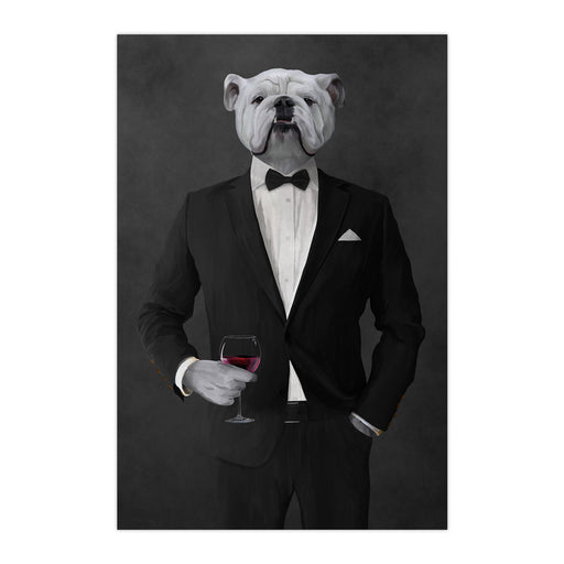 White Bulldog Drinking Red Wine Wall Art - Black Suit