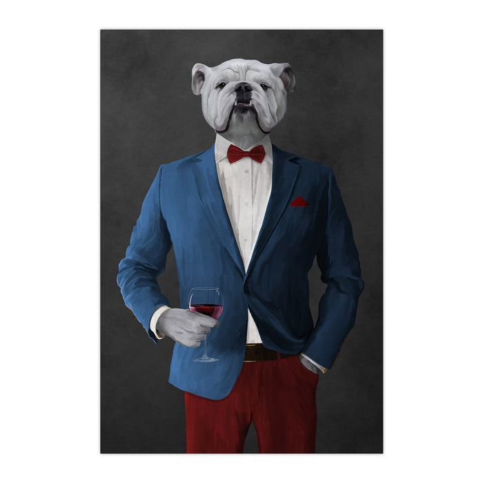 White Bulldog Drinking Red Wine Wall Art - Blue and Red Suit