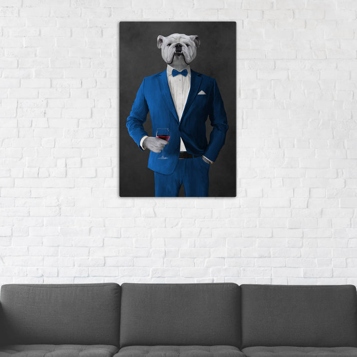 White Bulldog Drinking Red Wine Wall Art - Blue Suit