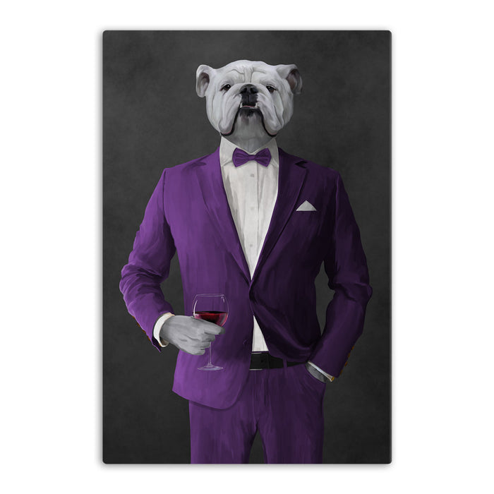White Bulldog Drinking Red Wine Wall Art - Purple Suit