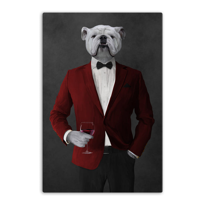 White Bulldog Drinking Red Wine Wall Art - Red and Black Suit