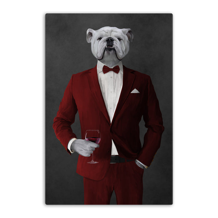 White Bulldog Drinking Red Wine Wall Art - Red Suit