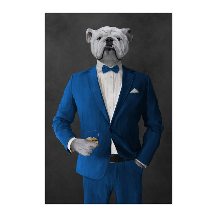 White Bulldog Drinking Whiskey Wall Art - Blue Suit