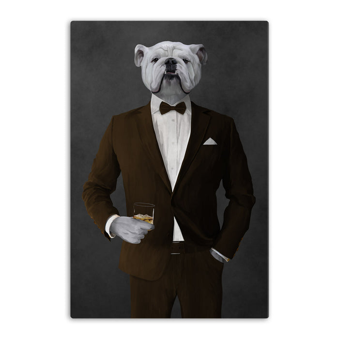 White Bulldog Drinking Whiskey Wall Art - Brown Suit