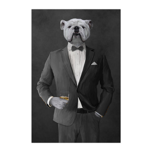 White Bulldog Drinking Whiskey Wall Art - Gray Suit
