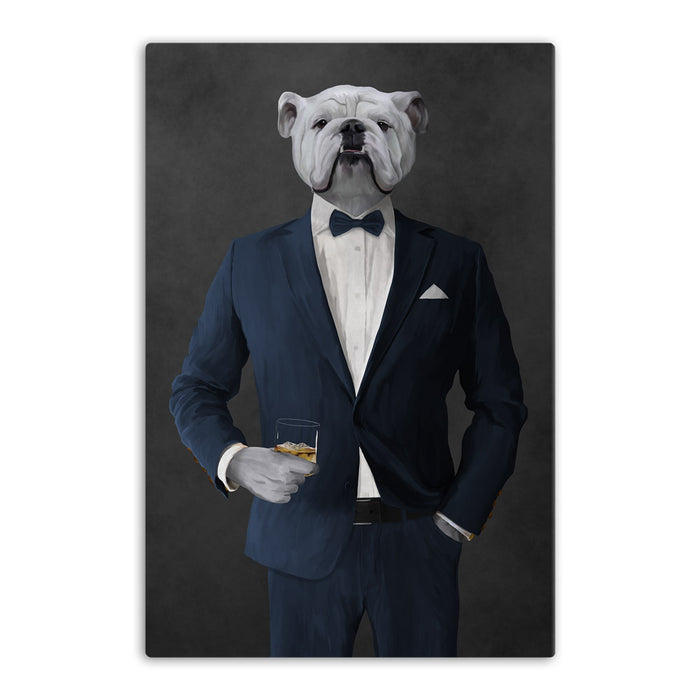 White Bulldog Drinking Whiskey Wall Art - Navy Suit