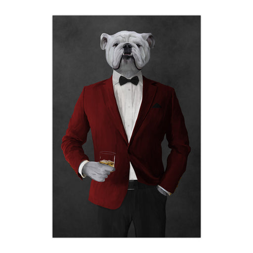 White Bulldog Drinking Whiskey Wall Art - Red and Black Suit