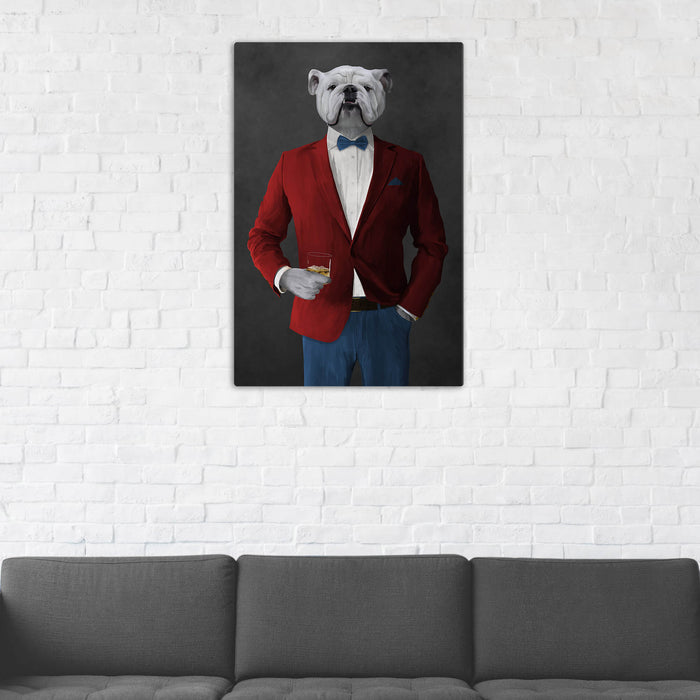 White Bulldog Drinking Whiskey Wall Art - Red and Blue Suit