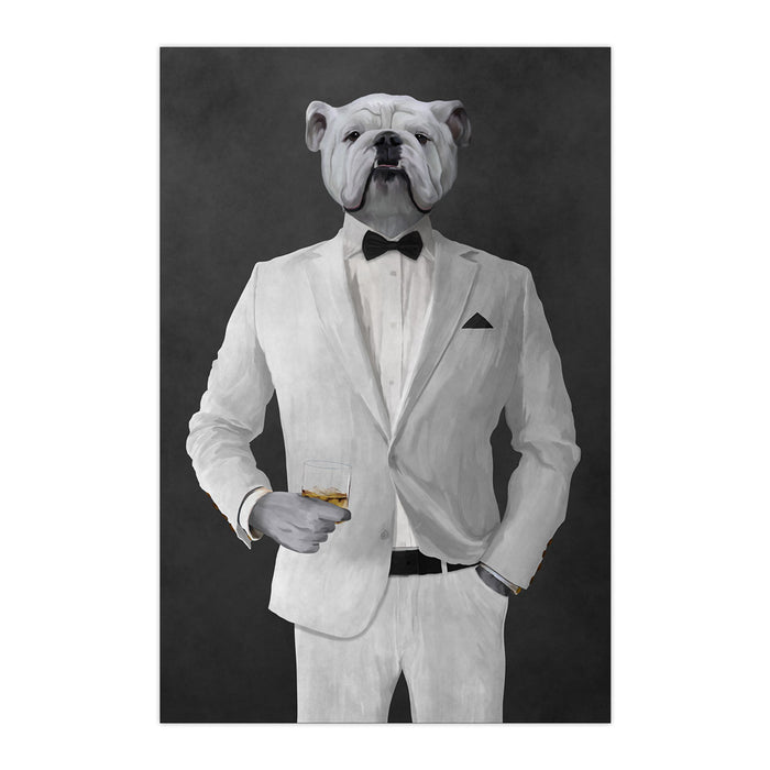 White Bulldog Drinking Whiskey Wall Art - White Suit