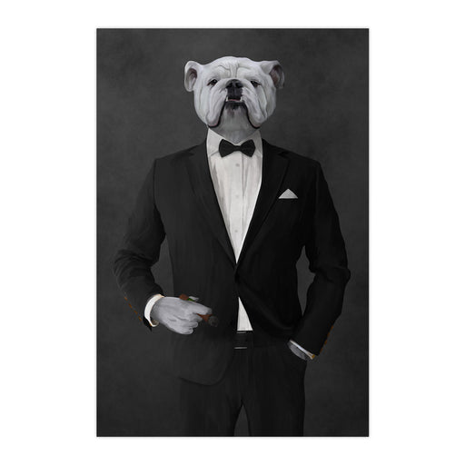 White Bulldog Smoking Cigar Wall Art - Black Suit