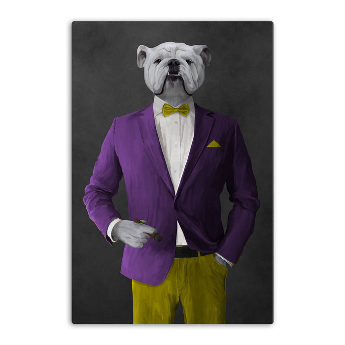 White Bulldog Smoking Cigar Wall Art - Purple and Yellow Suit