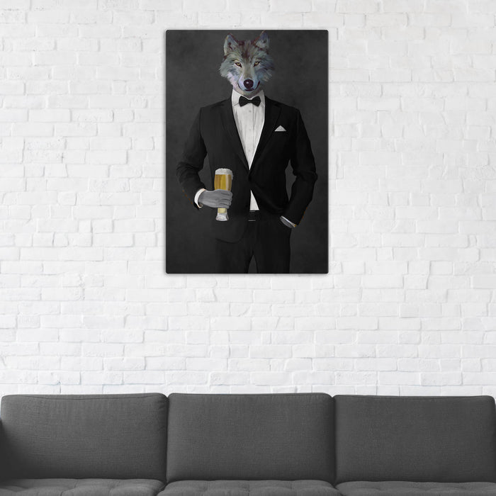 Wolf Drinking Beer Wall Art - Black Suit