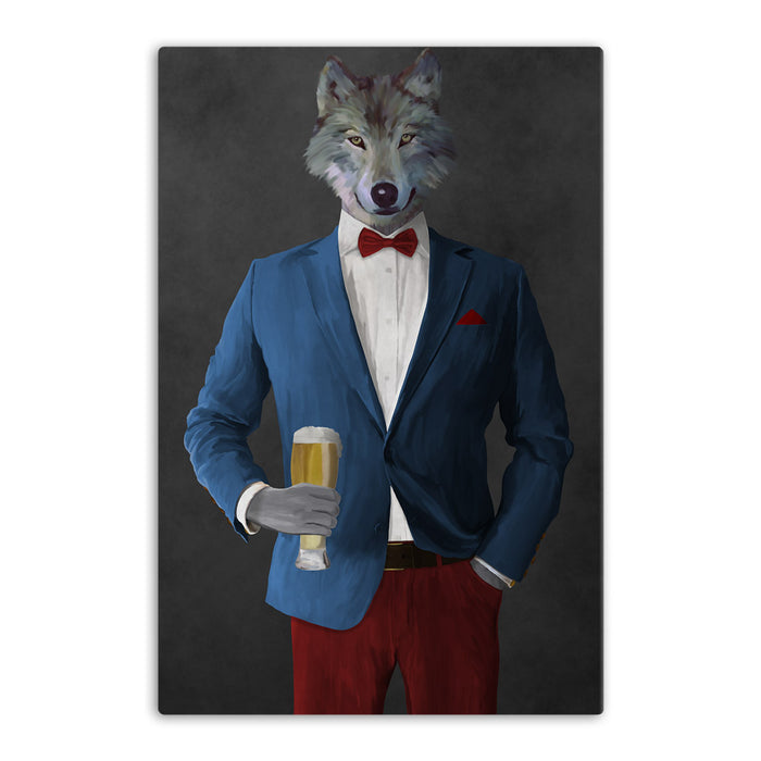 Wolf drinking beer wearing blue and red suit canvas wall art