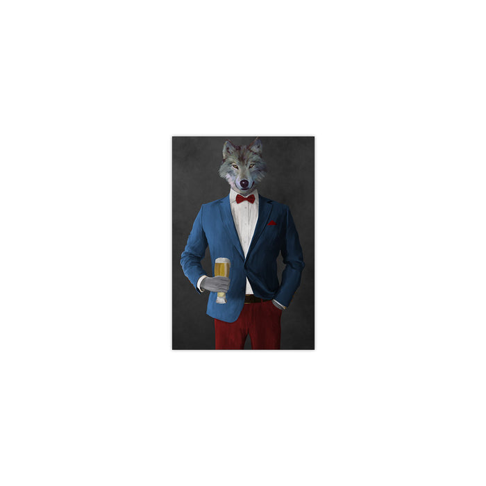 Wolf drinking beer wearing blue and red suit small wall art print