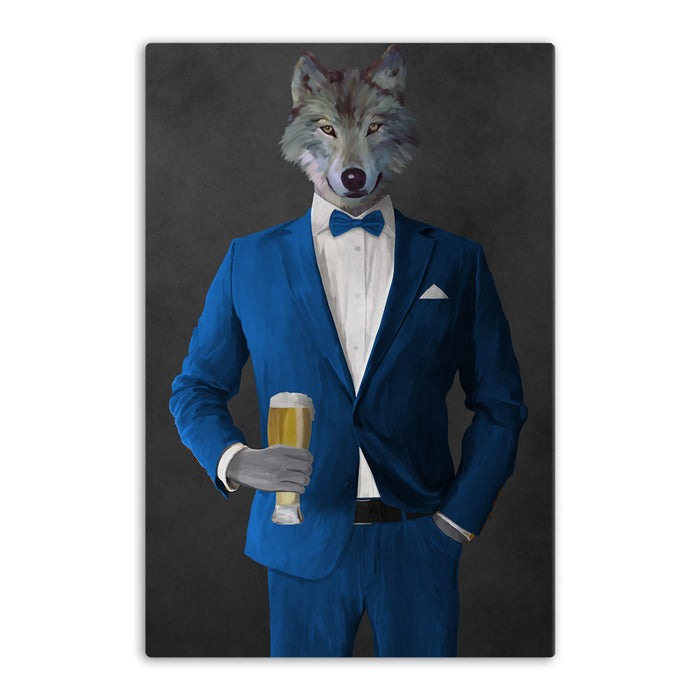 Wolf drinking beer wearing blue suit canvas wall art