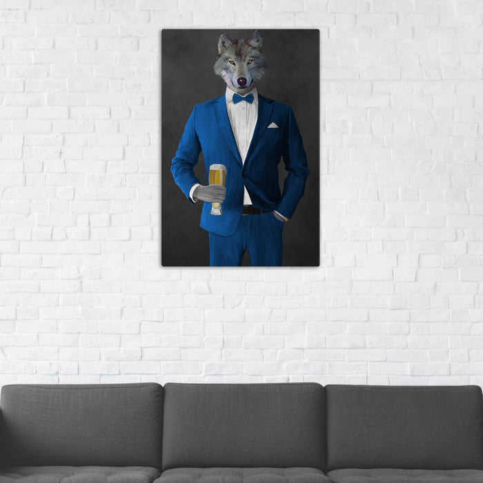 Wolf Drinking Beer Wall Art - Blue Suit