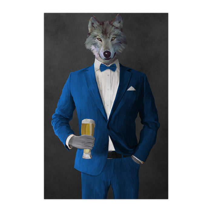 Wolf drinking beer wearing blue suit large wall art print