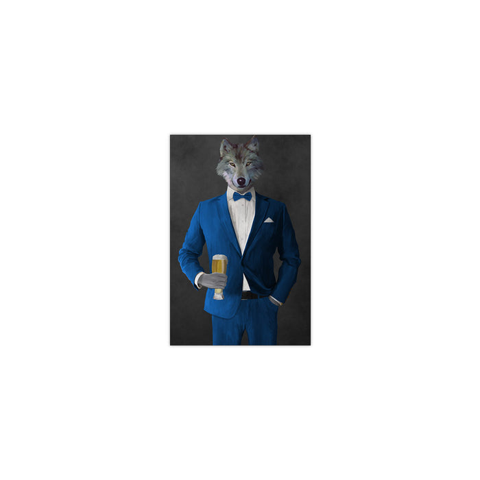Wolf drinking beer wearing blue suit small wall art print