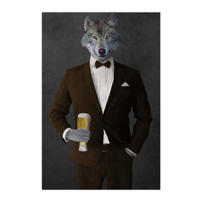 Wolf drinking beer wearing brown suit large wall art print