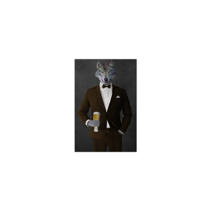 Wolf drinking beer wearing brown suit small wall art print