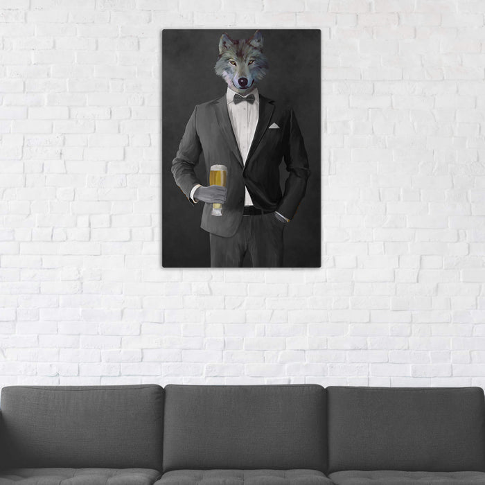 Wolf Drinking Beer Wall Art - Gray Suit
