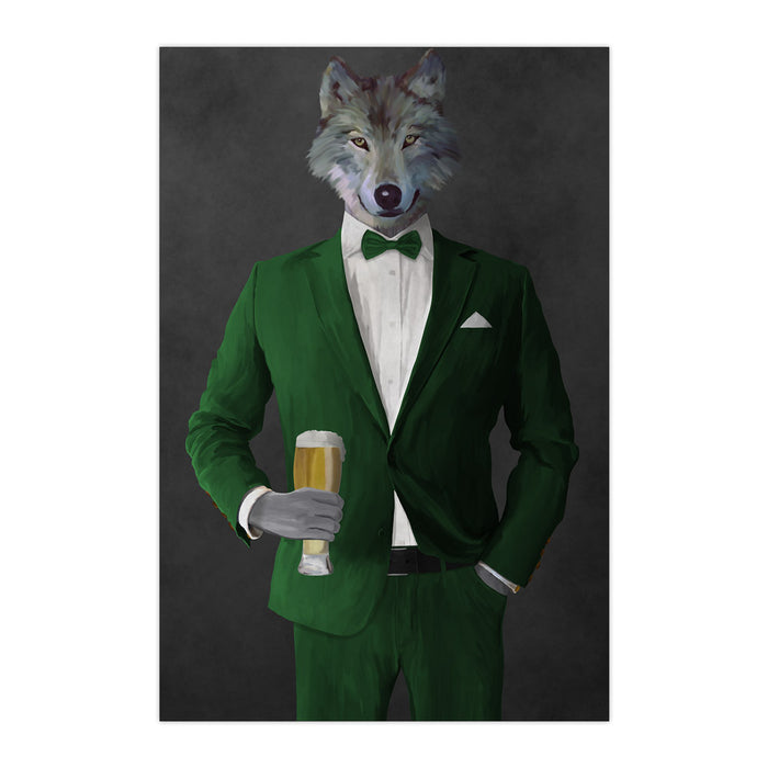 Wolf drinking beer wearing green suit large wall art print
