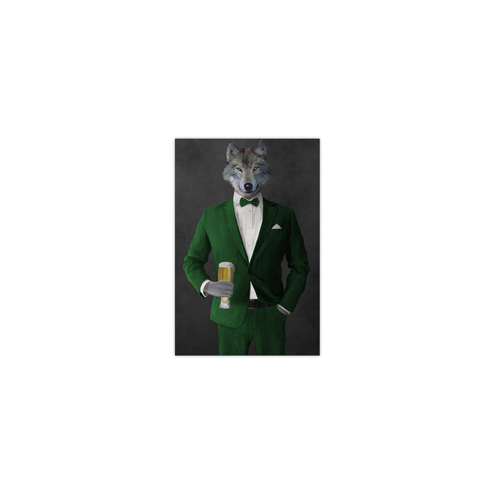Wolf drinking beer wearing green suit small wall art print