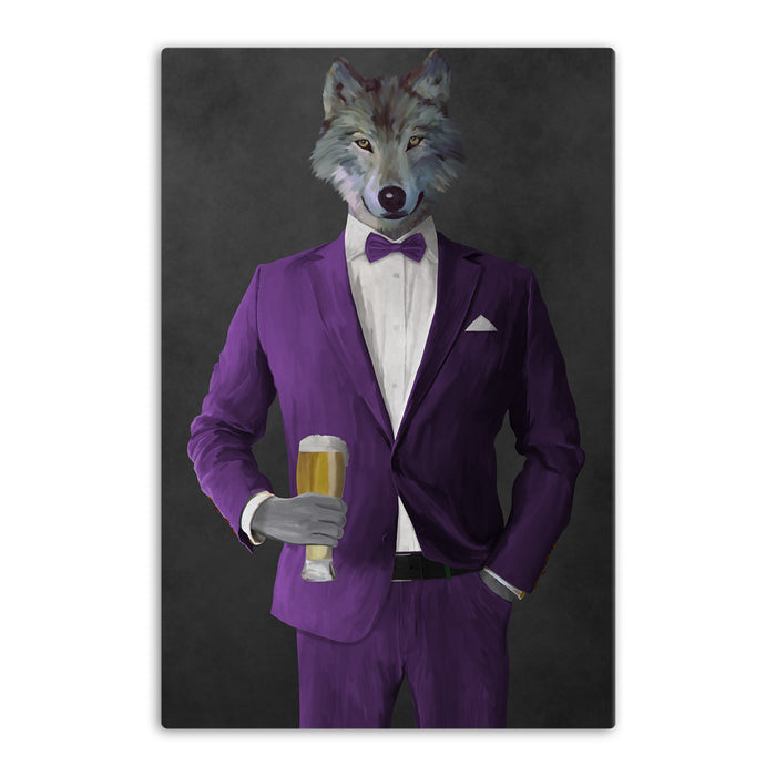 Wolf drinking beer wearing purple suit canvas wall art