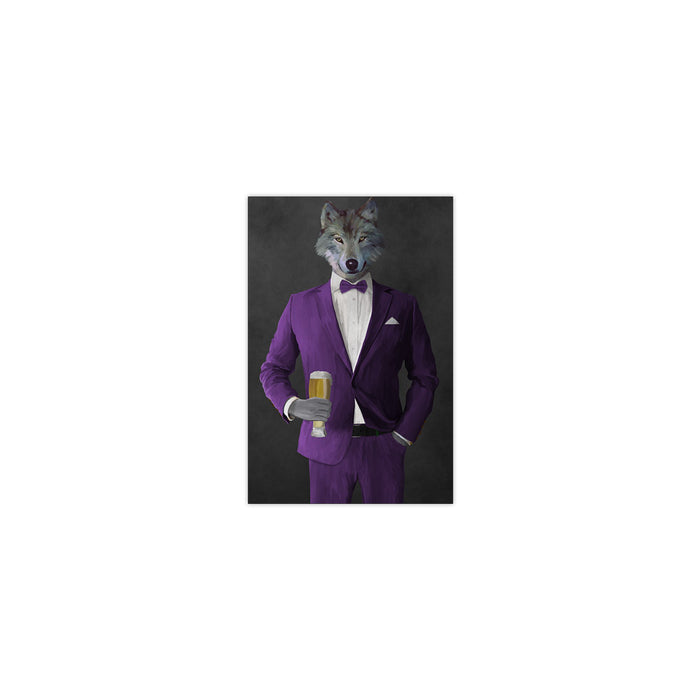 Wolf drinking beer wearing purple suit small wall art print