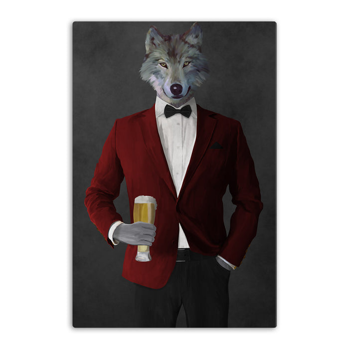 Wolf drinking beer wearing red and black suit canvas wall art