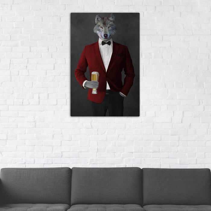 Wolf Drinking Beer Wall Art - Red and Black Suit