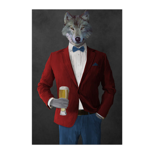 Wolf drinking beer wearing red and blue suit large wall art print