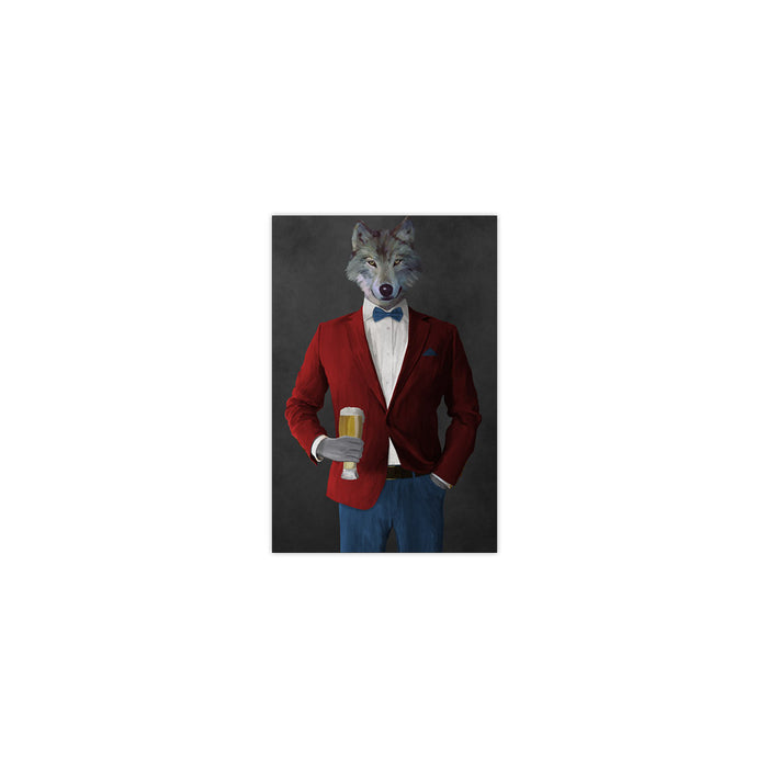 Wolf drinking beer wearing red and blue suit small wall art print