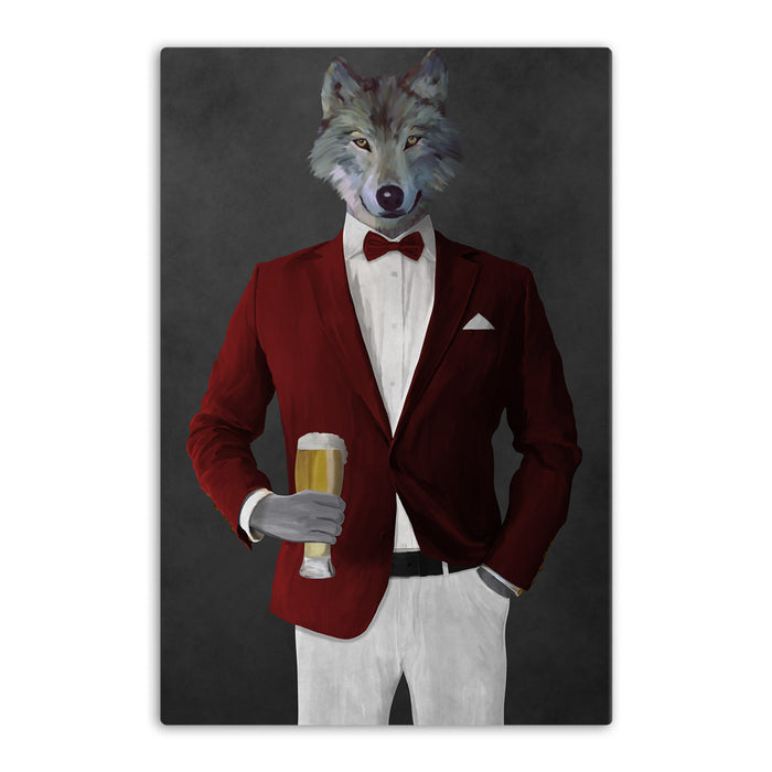 Wolf drinking beer wearing red and white suit canvas wall art