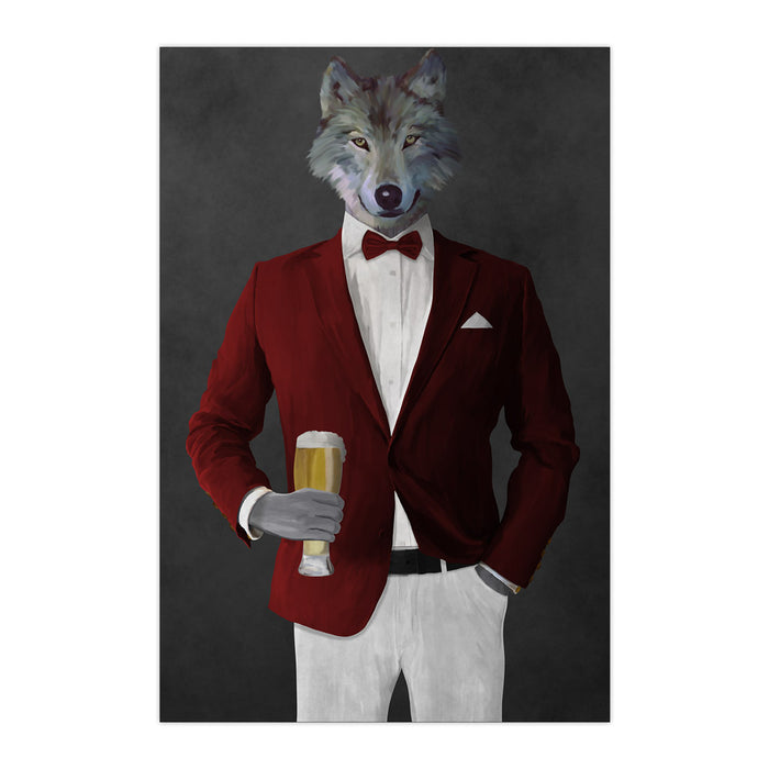 Wolf drinking beer wearing red and white suit large wall art print