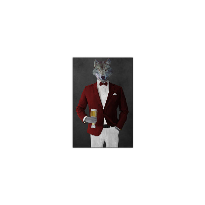 Wolf drinking beer wearing red and white suit small wall art print