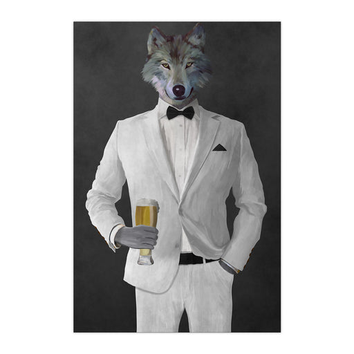 Wolf drinking beer wearing white suit large wall art print