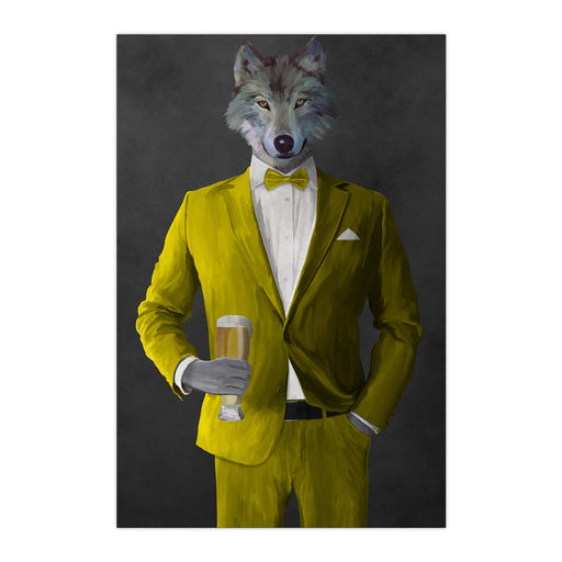 Wolf drinking beer wearing yellow suit large wall art print