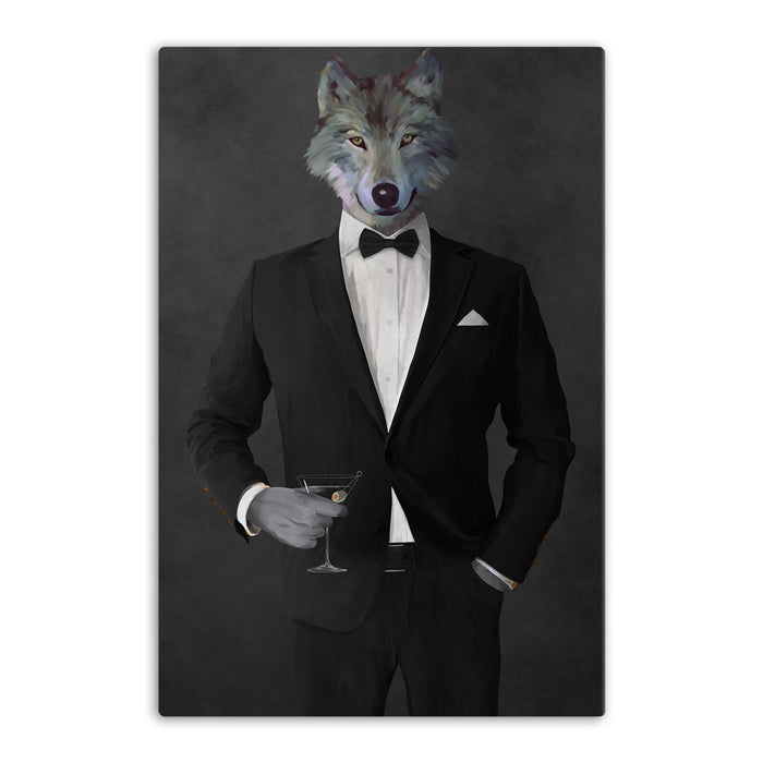 Wolf drinking martini wearing black suit canvas wall art