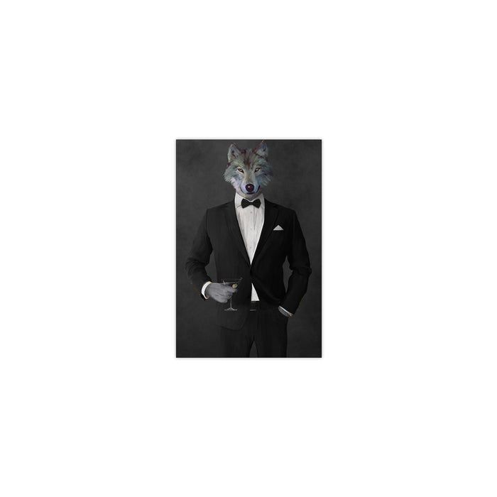 Wolf drinking martini wearing black suit small wall art print