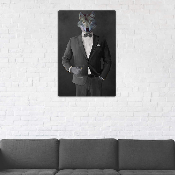 Wolf Drinking Martini Wall Art - Gray Suit
