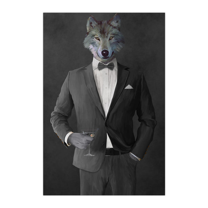 Wolf drinking martini wearing gray suit large wall art print